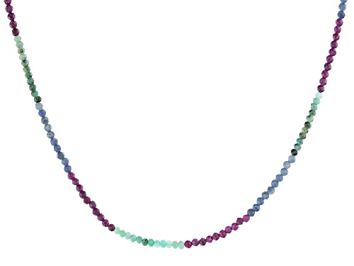 Photo of Emerald, Ruby, And Sapphire Rhodium Over Sterling Silver Beaded Necklace - Size 36