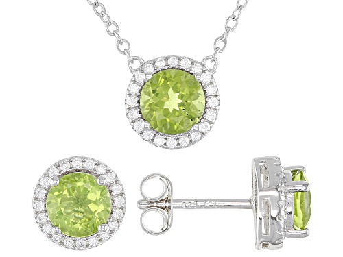 Photo of 3.12ctw Peridot And White Zircon Rhodium Over Sterling Silver Stud Earrings And Necklace Set