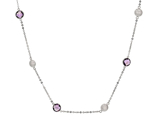10.80ctw 8mm Amethyst Rhodium Over Sterling Silver Necklace - Size 26