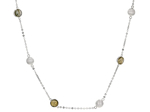 Photo of 12.00ctw 8mm Gray Labradorite Rhodium Over Sterling Silver Necklace - Size 26