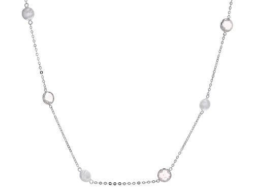 Photo of 12.00ctw 8mm Rose Quartz Rhodium Over Sterling Silver Necklace - Size 26