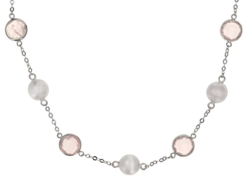 Photo of 12.00ctw 8mm Rose Quartz Rhodium Over Sterling Silver Necklace - Size 18