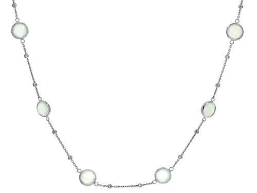 Photo of 16ctw 8mm Blue Chalcedony Rhodium Over Sterling Silver Necklace - Size 18