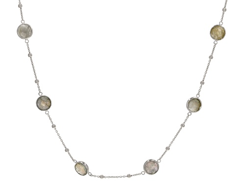 Photo of 16ctw 8mm Gray Labradorite Rhodium Over Sterling Silver Necklace - Size 18