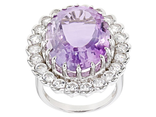 Photo of 15.00ct Lavender Amethyst With 3.00ctw Round White Zircon Rhodium Over Sterling Silver Ring - Size 7