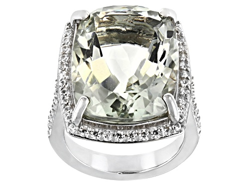 Photo of 15.00ct Cushion Green Prasiolite With 0.65ctw Round White Zircon Rhodium Over Sterling Silver Ring - Size 7