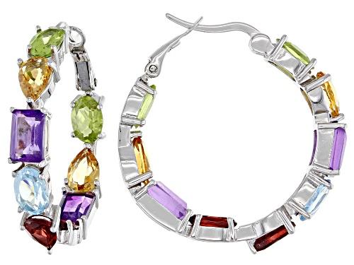 Photo of 8.95ctw Multi Gemstone Rhodium Over Sterling Silver Hoop Earrings