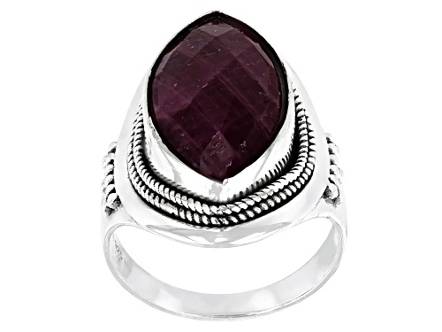 Photo of 7.50ct 18x23mm Marquise Ruby Sterling Silver Ring - Size 8