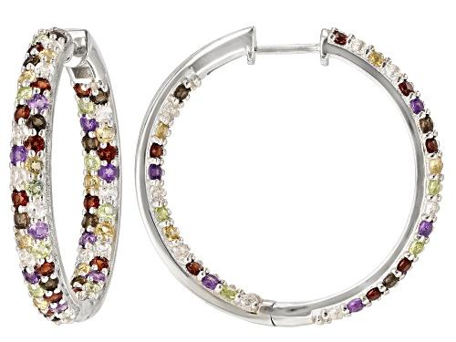 Photo of 6.16ctw Multi Gemstone Rhodium Over Sterling Silver Hoop Earrings