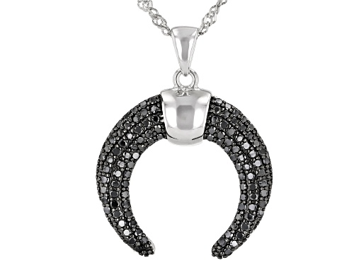 Photo of 0.70ctw Round Black Spinel Rhodium Over Sterling Silver Cayne Crescent Pendant With Chain