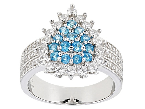 Photo of 0.50ctw Round Neon Apatite With 1.05ctw Round White Zircon Rhodium Over Sterling Silver Ring - Size 7