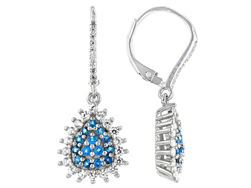 Photo of 0.50ctw Round Neon Apatite With 1.00ctw Round White Zircon Rhodium Over Sterling Silver Earrings