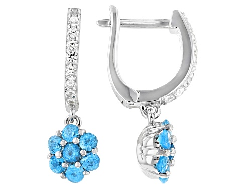 Photo of 0.80ctw Neon Apatite With 0.25ctw Round White Zircon Rhodium Over Sterling Silver Earrings