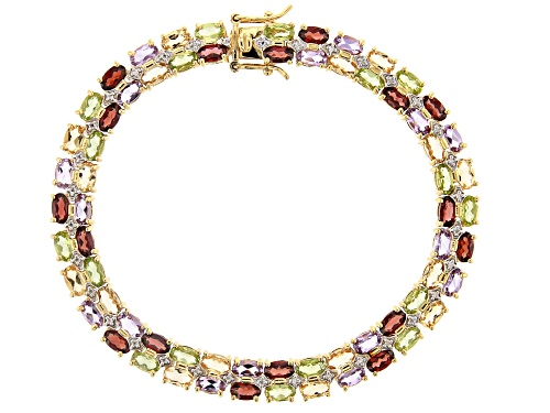Photo of 13.91ctw Multi-Gemstone 14k Gold Over Sterling Silver Bracelet - Size 7.25