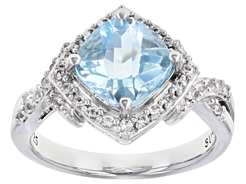Photo of 2.70ct Sky Blue Topaz With 0.33ctw Lab Created White Sapphire Rhodium Over Sterling Silver Ring. - Size 7