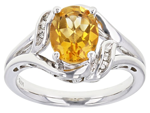 Photo of 1.75ct Oval Citrine With 0.01ctw Round White Diamond Rhodium Over Sterling Silver Ring - Size 7