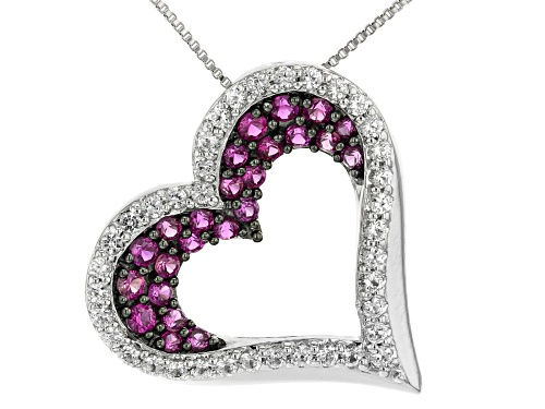 Photo of 1.29ctw Lab Ruby And Lab White Sapphire Rhodium Over Sterling Silver Pendant With Chain