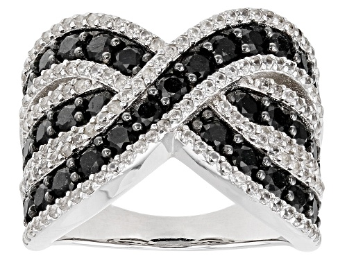 Photo of 1.65ctw Round Black Spinel With 0.90ctw Round White Zircon Rhodium Over Sterling Silver Ring - Size 6