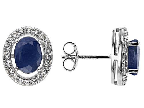 Photo of 1.75ctw Blue Sapphire with 0.35ctw White Zircon Rhodium Over Sterling Silver Stud Earrings