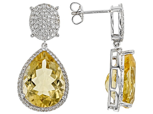 Photo of 14.25ctw Pear Citrine With 1.67ctw Round White Zircon Rhodium Over Sterling Silver Earrings