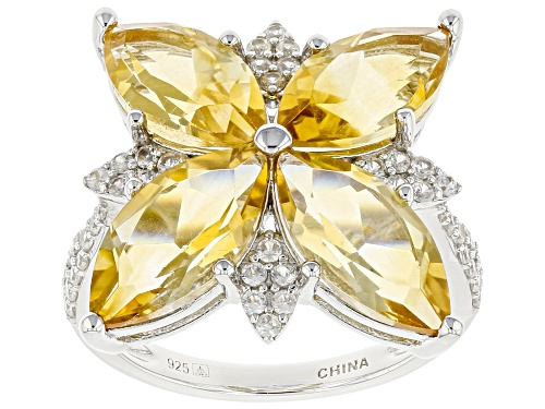 Photo of 6.08ctw Marquise Citrine With 0.56ctw White Zircon Rhodium Over Sterling Silver Ring - Size 9