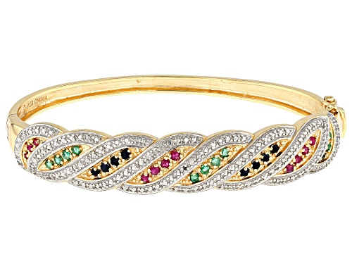 Photo of 0.75ctw Round Multi-Stone 14K Gold Over Sterling Silver Bracelet - Size 7.25