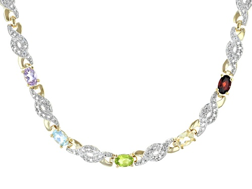 Photo of 2.10ctw Multi-Stone With White Diamond Accent 14K Gold Over Sterling Silver Necklace - Size 17