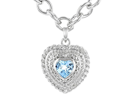 Photo of 1.00ct Sky Blue Topaz With White Diamond Accent Sterling Silver Necklace - Size 17