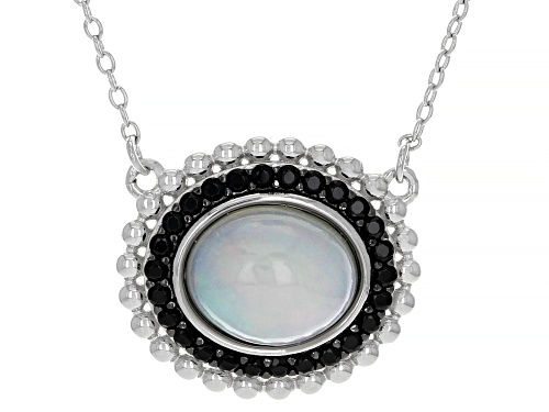 Photo of 11X9mm Ethiopian Opal and 0.25ctw Black Spinel Rhodium Over Sterling Silver Necklace