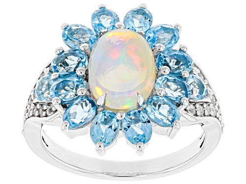 Photo of 3.31ctw Multi gemstone Rhodium Over Sterling Silver Ring - Size 6