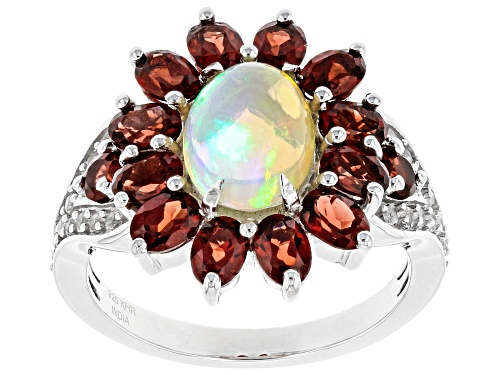 Photo of 3.56ctw Multi Gemstone Rhodium Over Sterling Silver Ring - Size 7