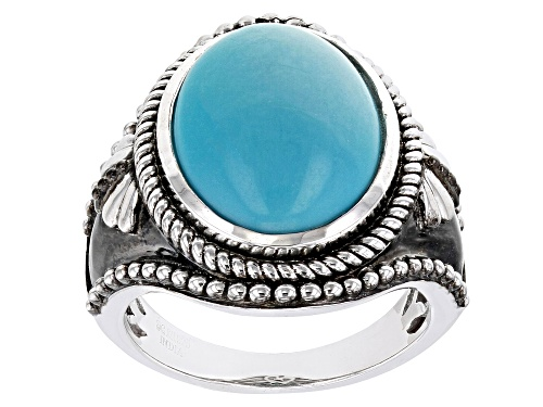 Photo of 16x12mm Blue Turquoise Rhodium Over Sterling Silver Ring - Size 7