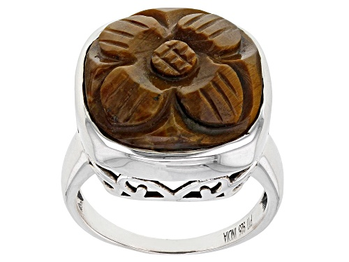 Photo of 16mm Cushion Tigers Eye Rhodium Over Sterling Silver Craved Flower Ring - Size 10