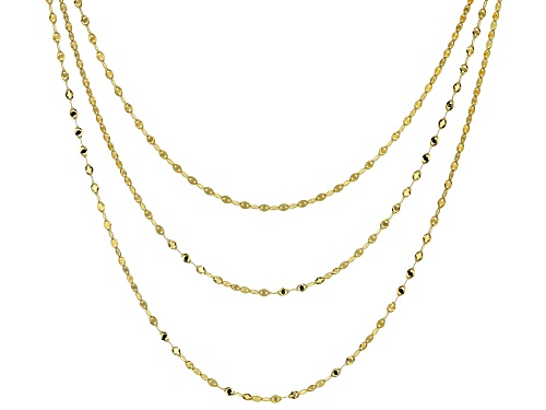 "Photo of 10K Yellow Gold Solid Multi-Row Mirror Link Necklace 18"" - Size 18"