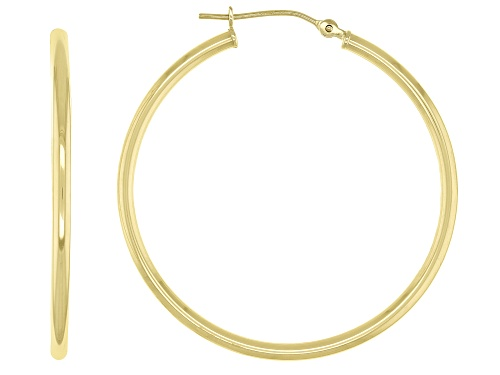 Photo of 14K Yellow Gold Polished Round Tube 35MM Hoop  Earrings