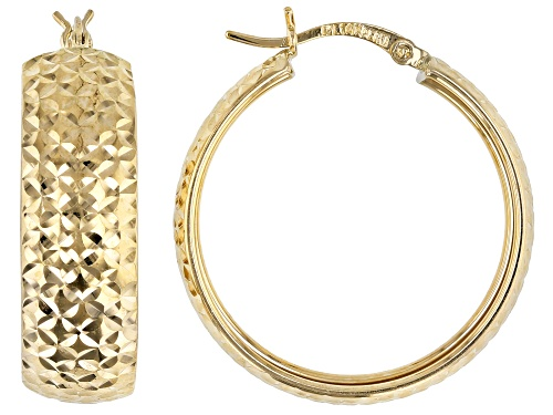 Photo of 14K Yellow Gold Polished Diamond Cut Round 29MM Hoop Earrings
