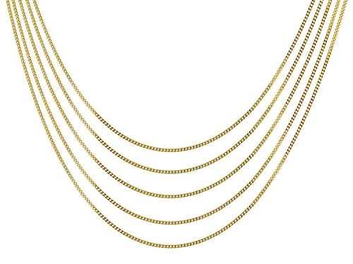 Photo of 18k Yellow Gold Over Sterling Silver Curb Chain 18 inches Set of 5