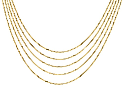 Photo of 18k Yellow Gold Over Sterling Silver Box Chain 18 inches Set of 5