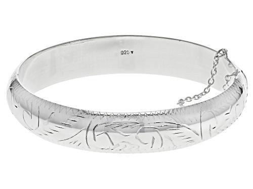 "Photo of Sterling Silver 12MM 7"" Engraved Bangle Bracelet - Size 7"
