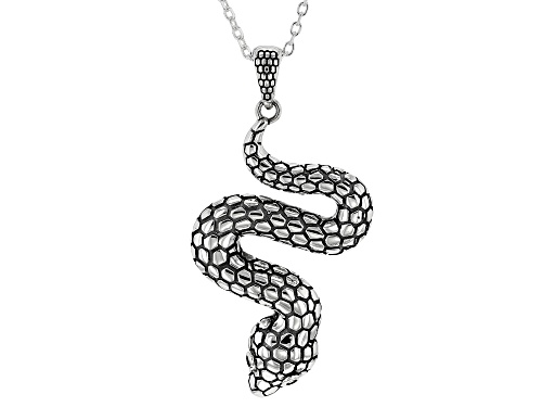 Photo of Sterling Silver Oxidized Snake Pendant with 18 Inch Cable Chain