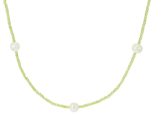 Photo of 10-11mm White Cultured Freshwater Pearl & Peridot 42 Inch Endless Necklace - Size 42