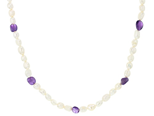 Photo of 6.5-7.5mm White Cultured Freshwater Pearl & Amethyst 72 Inch Endless Necklace - Size 72