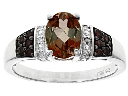 Photo of 1.06ct Andalusite With .01ctw Diamond Accent & .15ctw Vermelho Garnet™ Rhodium Over Silver Ring - Size 8