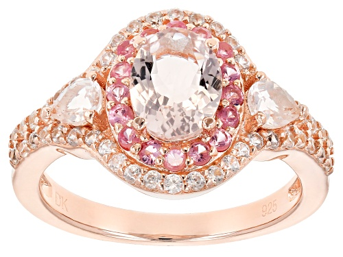 Photo of 1.21ctw Morganite, .28ctw Spinel & .54ctw Zircon 18k Rose Gold Over Silver Ring - Size 9