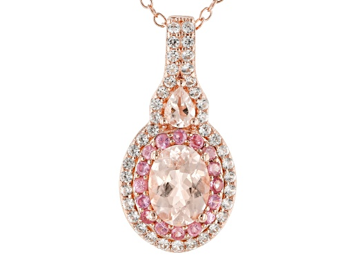 Photo of 1.08ctw Morganite, .41ctw Spinel & .09ctw Zircon 18k Gold Over Silver Pendant W/ Chain