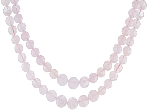 Photo of 6-10MM ROUND GRADUATED MORGANITE STERLING SILVER 2-ROW BEAD NECKLACE - Size 19