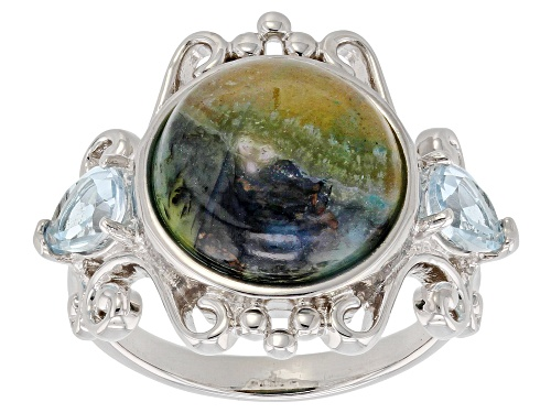 Photo of 12mm Indonesian Blue Opal In Matrix with .85ctw Glacier Topaz™ Rhodium Over Sterling Silver Ring - Size 7