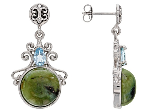 Photo of 12mm Indonesian Blue Opal in Matrix with .85ctw Glacier Topaz™ Rhodium Over Silver Earrings