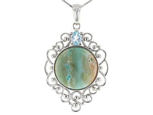 Photo of 20mm Round Indonesian Opal in Matrix & .68ct Glacier Topaz™ Rhodium Over Silver Pendant w/Chain