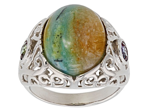 Photo of 15x11mm Indonesian Blue Opal in Matrix with .56ctw Lab Created Alexandrite Rhodium Over Silver Ring - Size 8